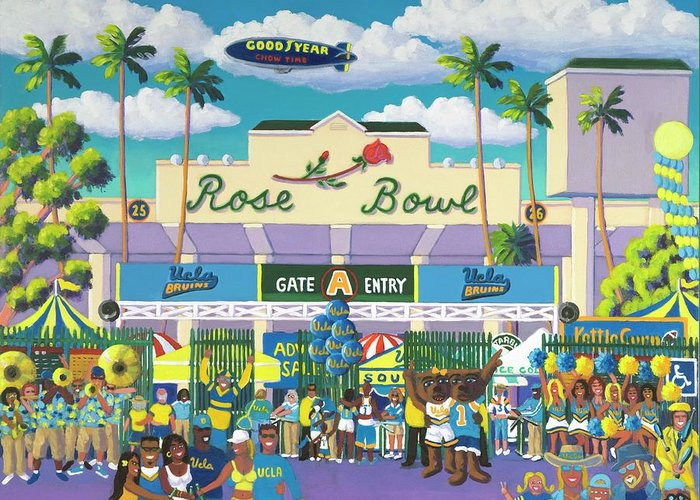 Ucla Bruins Greeting Card featuring the painting Beautiful Downtown Bruinville by Frank Strasser