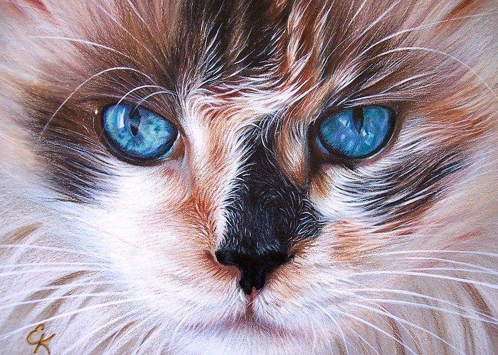 Cat Greeting Card featuring the drawing Beautiful Mia by Elena Kolotusha