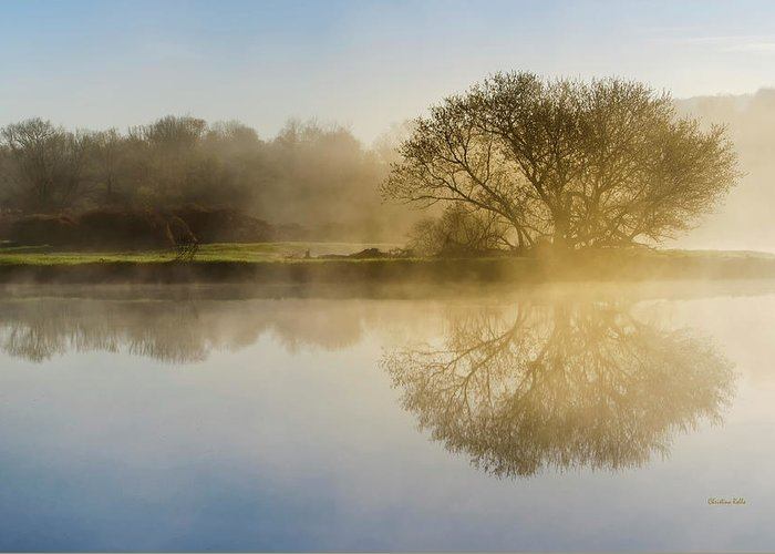 Sunrise Landscape Greeting Card featuring the photograph Beautiful Misty River Sunrise by Christina Rollo