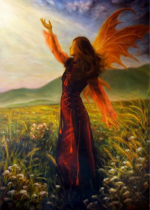 Art Greeting Card featuring the painting Beautiful Painting Oil On Canvas Of A Fairy Woman In A Historic Dress Standing In Rays Of Sunlight A by Jozef Klopacka