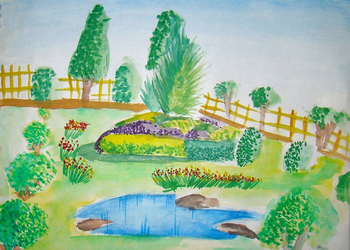 Landscape Greeting Card featuring the painting Beautiful Park by Tanmay Singh