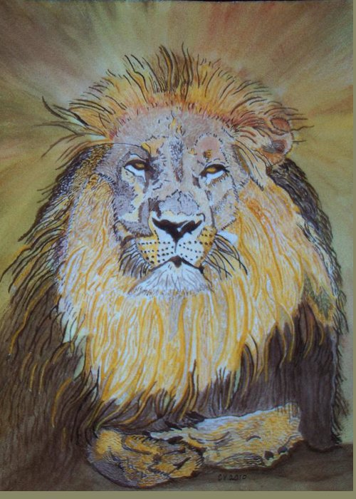 Lion Greeting Card featuring the painting Beautiful Pose Of The King by Connie Valasco