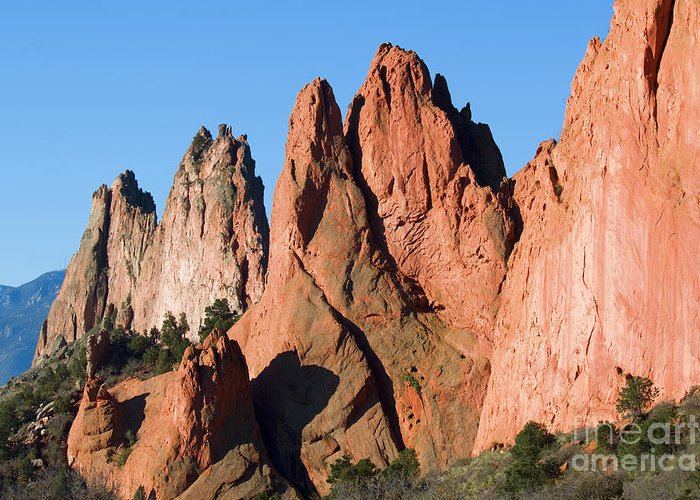 Garden Of The Gods Greeting Card featuring the photograph Beautiful Sandstone Spires In Garden Of The Gods Park by Steve Krull