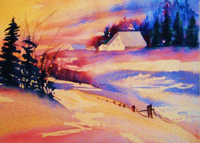 Winterscene Greeting Card featuring the painting Beautiful Serenity by Carole Spandau