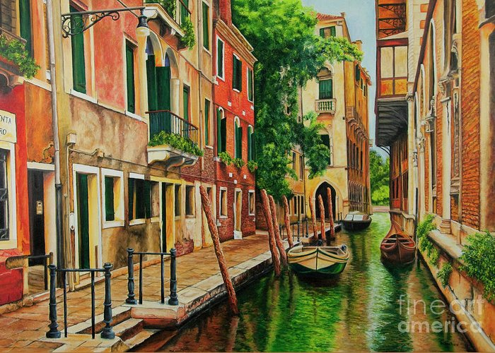 Venice Canal Greeting Card featuring the painting Beautiful Side Canal In Venice by Charlotte Blanchard
