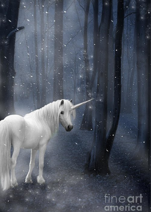 Unicorn Greeting Card featuring the photograph Beautiful Unicorn In Snowy Forest by Ethiriel Photography