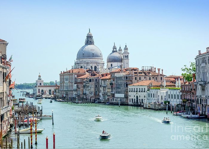 Italy Greeting Card featuring the photograph Beautiful View Of Water Street And Old Buildings In Venice, Ital by Otto