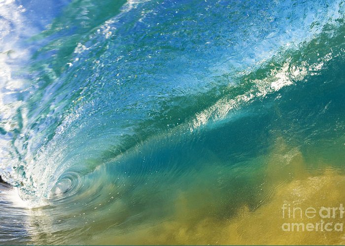 Aqua Greeting Card featuring the photograph Beautiful Wave Breaking by MakenaStockMedia