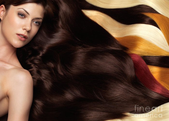 Hair Greeting Card featuring the photograph Beautiful Woman With Hair Extensions by Oleksiy Maksymenko