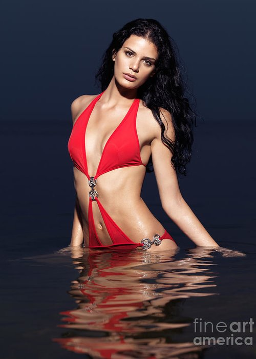 Bikini Greeting Card featuring the photograph Beautiful Young Woman In Red Swimsuit Standing In Water by Oleksiy Maksymenko
