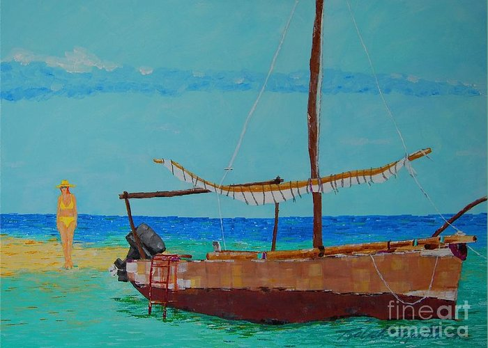Beach Art Greeting Card featuring the painting Beauty And The Beast by Art Mantia