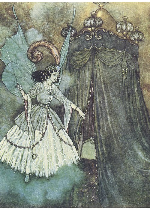 Edmund Dulac Greeting Card featuring the painting Beauty And The Beast by Edmund Dulac