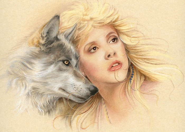 Stevie Nicks Greeting Card featuring the drawing Beauty And The Beast by Johanna Pieterman