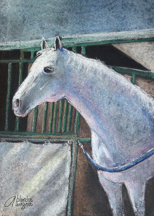 Horse Greeting Card featuring the pastel Beauty by Arline Wagner