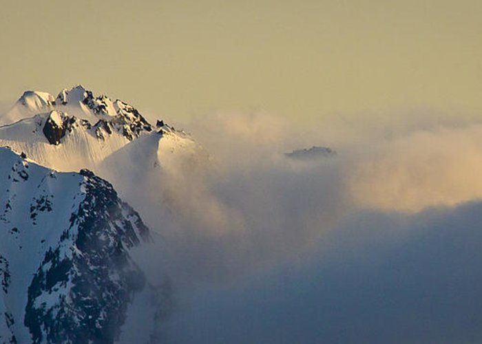 Olympic Mountains Greeting Card featuring the photograph Beauty Belies The Danger. by Albert Seger