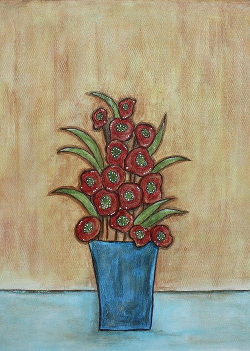 Folk Art Paintings Paintings Greeting Card featuring the painting Beauty Grows by Rain Ririn