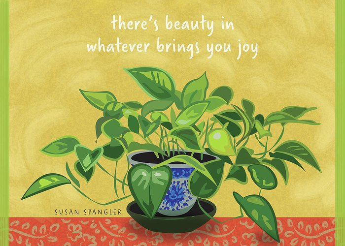 Philodendron Greeting Card featuring the digital art Beauty In Joy by Susan Spangler