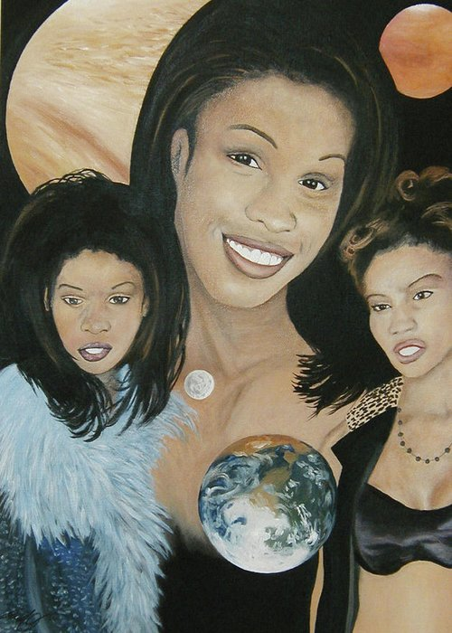 Portrait Greeting Card featuring the painting Beauty Of The Galaxy by Angelo Thomas