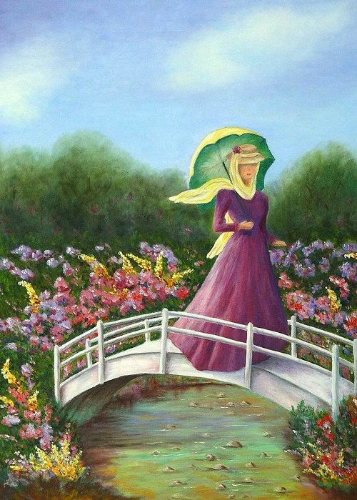 Lady With Flowers Greeting Card featuring the painting Beauty Wherever She Goes by Merle Blair