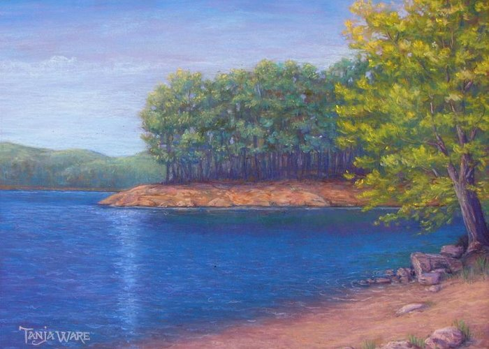 Landscape Greeting Card featuring the painting Beaver Lake Blue by Tanja Ware