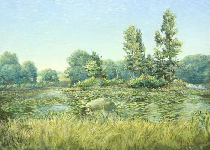 Landscape Greeting Card featuring the painting Beavor Pond by Stephen Bluto