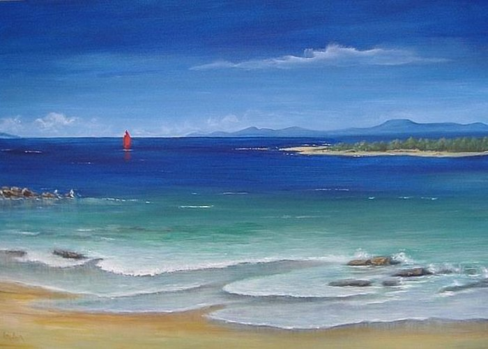 Seascape Greeting Card featuring the painting Becalmed by Rita Palm