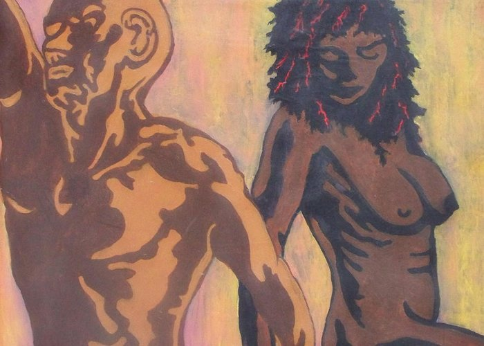 Nude Greeting Card featuring the painting Because We Are Only Human by Shane Hurd