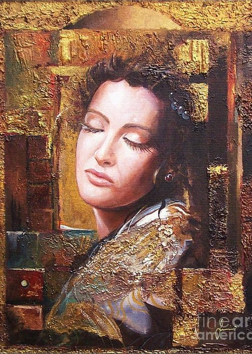Female Portrait Greeting Card featuring the painting Because You Are Beautiful by Sinisa Saratlic
