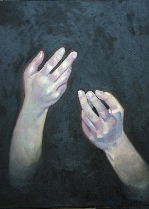 Figure Greeting Card featuring the painting Beckoning Hands by Douglas Manry