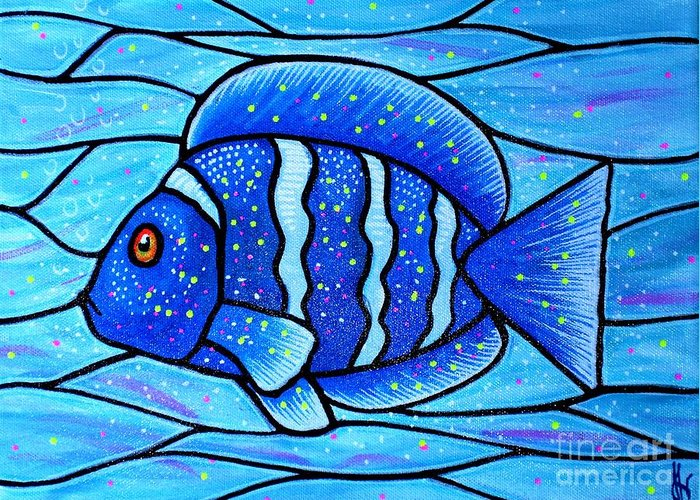 Tropical Fish Greeting Card featuring the painting Beckys Blue Tropical Fish by Jim Harris