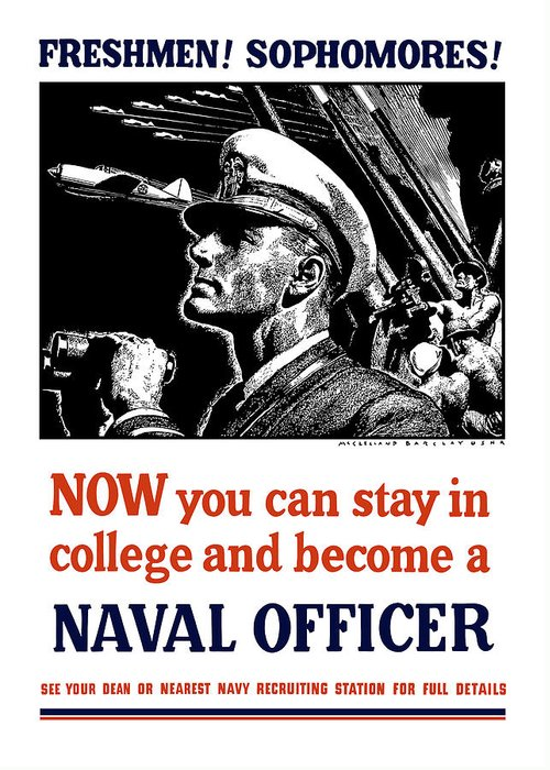 Navy Greeting Card featuring the mixed media Become A Naval Officer by War Is Hell Store