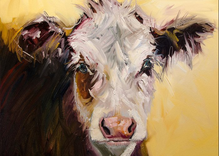 Cow Art Oil Painting Greeting Card featuring the painting Bed Head Cow by Diane Whitehead