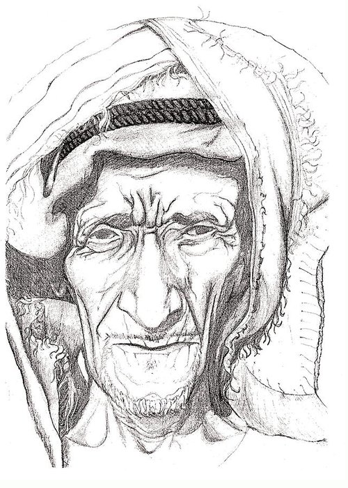 Drawing Greeting Card featuring the drawing Bedouin by Yvonne Ayoub