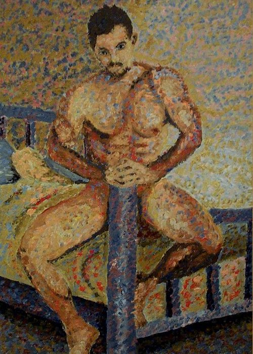 Nudes Greeting Card featuring the painting Bedtime by Mats Eriksson