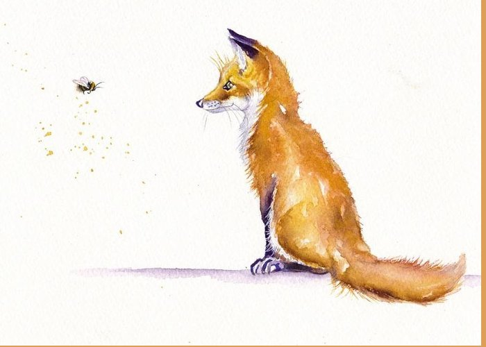 Red Fox Cub Greeting Card featuring the painting Bee Confronted by Debra Hall