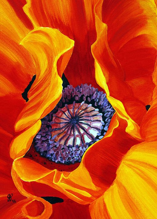 Macro Flower Greeting Card featuring the painting Bee by Julie Pflanzer
