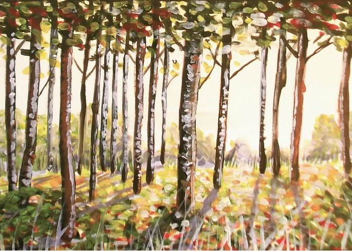 Beech Greeting Card featuring the painting Beech Trees At Dawn by Kate Evans