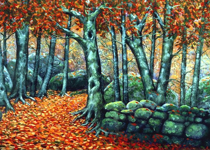 Landscape Greeting Card featuring the painting Beech Woods by Frank Wilson