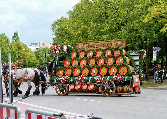Beer Greeting Card featuring the photograph Beer Barrels On Cart by Bernard Barcos