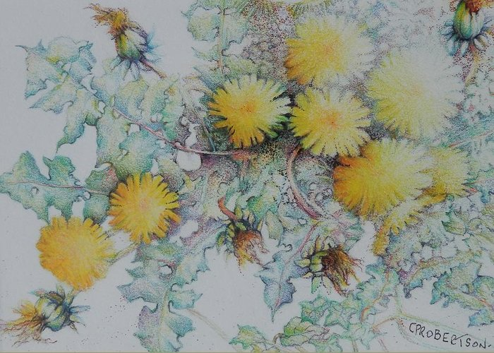 Flowers Dandelions Yellow Warm Soft Spring Summer Bees Pollinators Green Sunshine Bright Greeting Card featuring the drawing Bees Adore Dandelions by Catherine Robertson