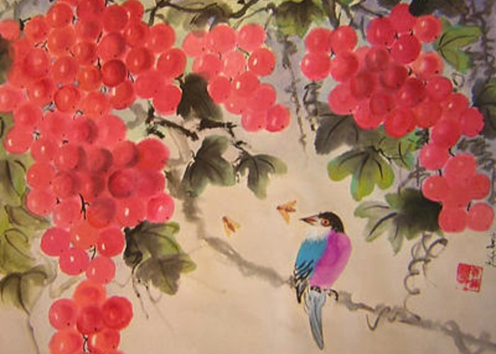 Water Colour Greeting Card featuring the painting Bees And Bird by Lian Zhen