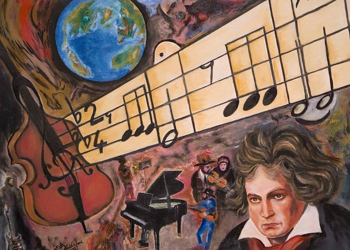 Abstract Greeting Card featuring the painting Beethoven by Boz Vakhshori