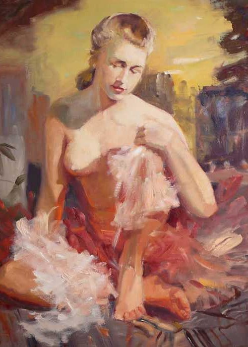 A Seated Figure Of A Pensive Delicate Girl In A Contemporary Ballet Attire Greeting Card featuring the painting sold Before Dance by Irena Jablonski