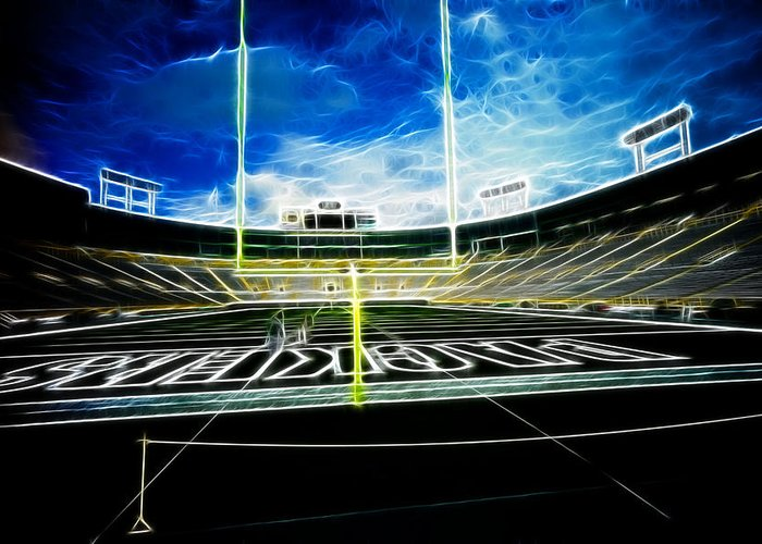 Lambeau Field Greeting Card featuring the photograph Before The Big Game by Lawrence Christopher