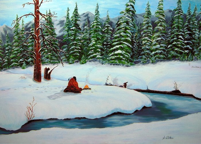 Landscape Greeting Card featuring the painting Before The Next Snowfall by Nick Petkov