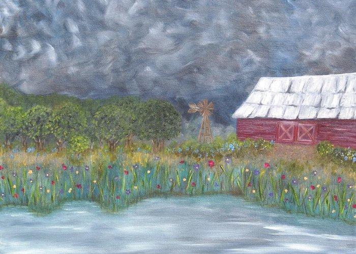 Landscape Greeting Card featuring the painting Before The Storm by Crystal Mccormick