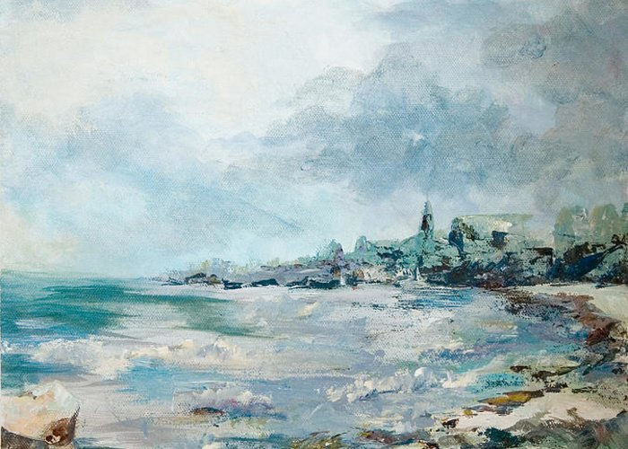 Seascape Greeting Card featuring the painting Before The Storm by Elisabeta Hermann