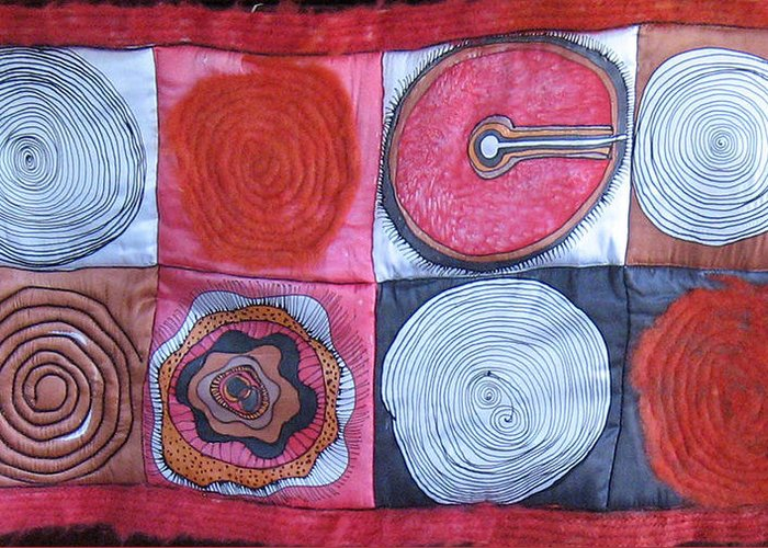 Abstract Greeting Card featuring the tapestry - textile Beginning Of Life by Aliza Souleyeva-Alexander