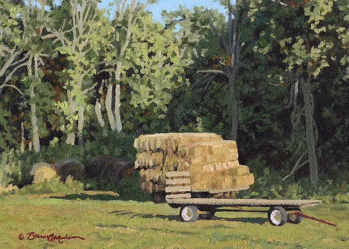 Landscape Greeting Card featuring the painting Behind The Grove by Bruce Morrison