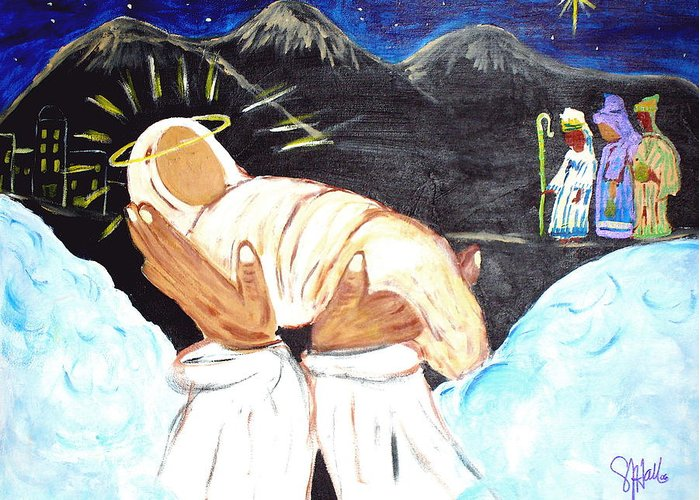 Religious Greeting Card featuring the painting Behold Him by Sheila J Hall